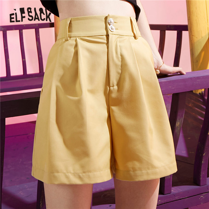 ELFSACK Khaki Solid A Line High Waist Casual Women Wide Leg Shorts 2020 Summer Gray Pure Chic Button Ladies Korean Daily Bottoms