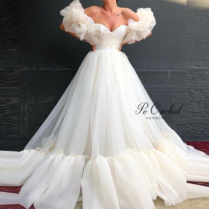 Peorchidée 2020 robes de bal longue perlée robe Graduacion Puffy manches courtes chérie femmes longue robe de soirée robe de soirée