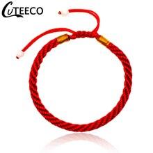 CUTEECO тибетский буддийский счастливый браслет и браслеты для мужчин ручной работы узлы нить красная веревка браслет для женщин модные ювелирные изделия