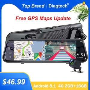 Diagtech Car DVR 10 Inch 4G GPS Dash Camera Car Camera Dual Lens Rear View Mirror Auto Registrar Android 8.1 ADAS Video Recorder
