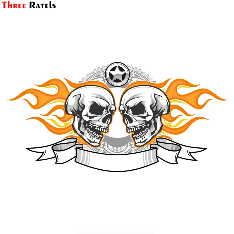 Three Ratels FTC-896 Custom Made Your Name Or Numbers Devil Death Skull Motorcycle Helmet Car Sticker Windows Decal