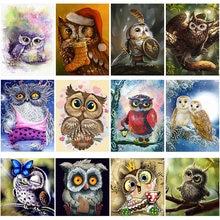 DIY 5D Diamond Painting Snowy Owl with Round Beads Diamond Embroidery Animal Cross Stitch Manual Art Gifts Artwork Home Decor