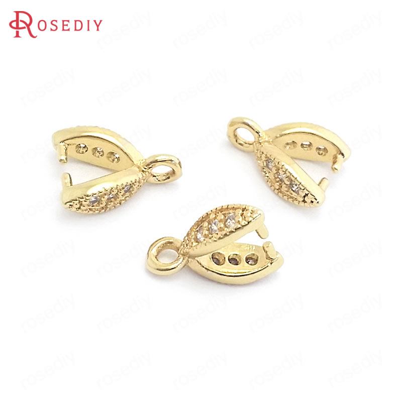 (37835)10PCS Height 9MM 24K Gold Color Brass And Zircon Tree Leaf Charms Pendants Connector Jewelry Making Supplies Diy Findings