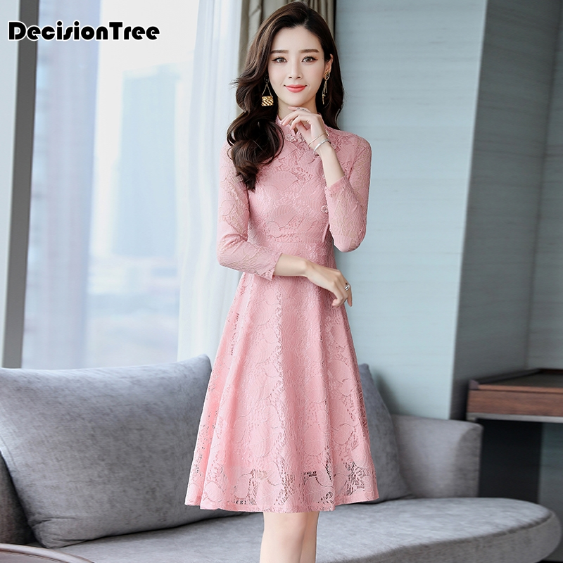 2020 Qipao Cheongsam Dress Chinese Traditional Oriental Hollow Carved Lace Dresses Qipao For Women Party Wedding Dress