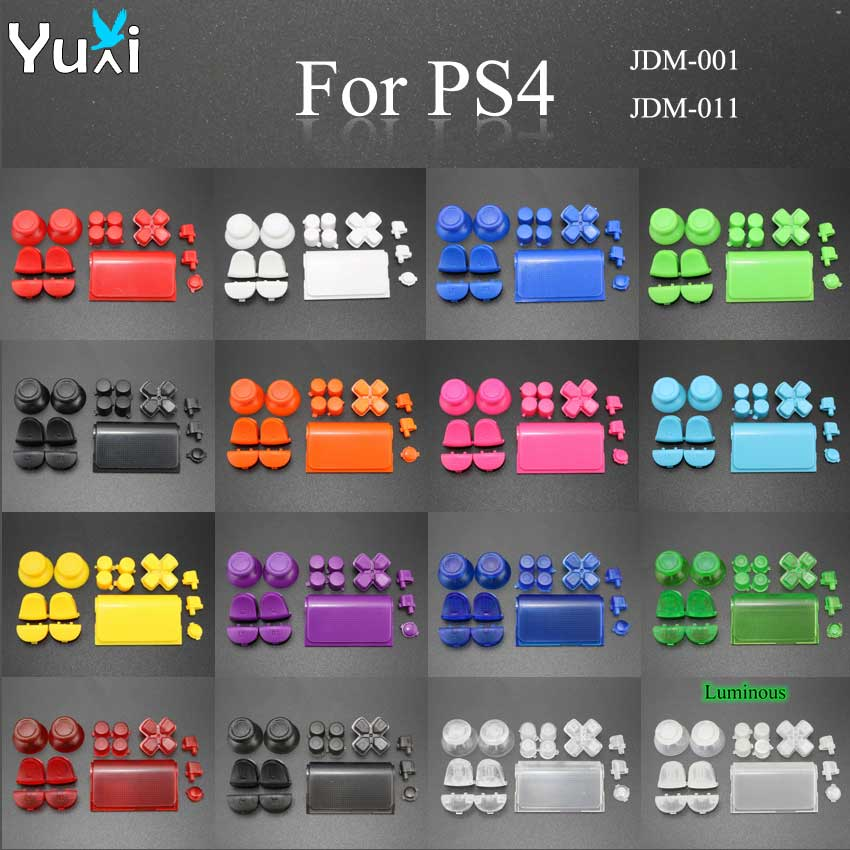 YuXi Full Set Replacement Parts Buttons Grip Caps D-Pad L1 L2 R1 R2 For Sony Playstation Dualshock 4 PS4 DS4 Gamepad Controller