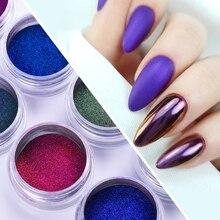 0.2 g/kutu 8 renkler bukalemun parlak tırnak tozu ayna lazer Auroras etkisi Nail Art krom Pigment toz DIY tasarım dekorasyon