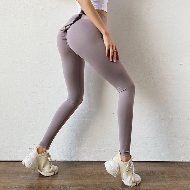 Bowknot lift hip Sports pants High Waist Yoga Leggings Scrunch Butt Workout Sports Women Fitness Leggings Gym Running Tights 6