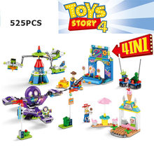 2019 new 4 pcs Movie Toy Story 4 Amusement Park Block Set Woody Buzz Lightyear Building Brick Toy For Kids legoinglys(China)