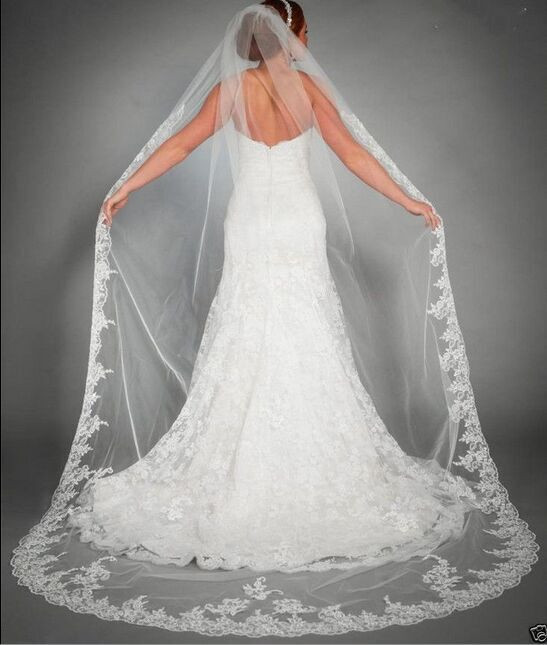 New Style White Lace 3 M Lace Veil And Comb Bride