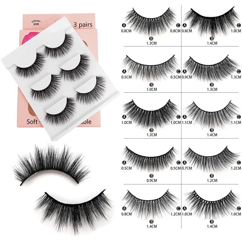 ICYCHEER Makeup 3 Pairs  5D Mink Eyelashes Eyelash Extension Natural Eye Lash Long Thick Handmade Reusable Dramatic Look Fluffy