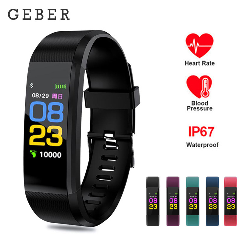 Smart Bracelet Watch 115 Plus Smart Wristband Fitness Tracker Waterproof Blood Pressure Heart Rate Monitor Smart Watch Women
