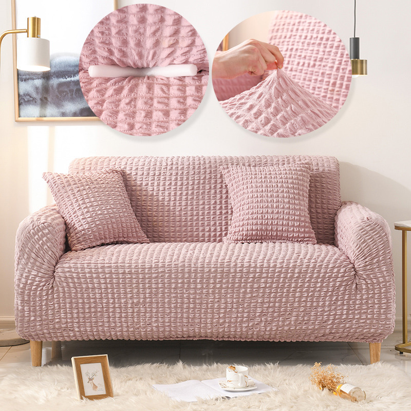 Solid Color Elastic Sofa Cover for Living Room Plaid Stretch Sectional Slipcovers Sofa Couch Cover Armchair Couch Sofa Cover