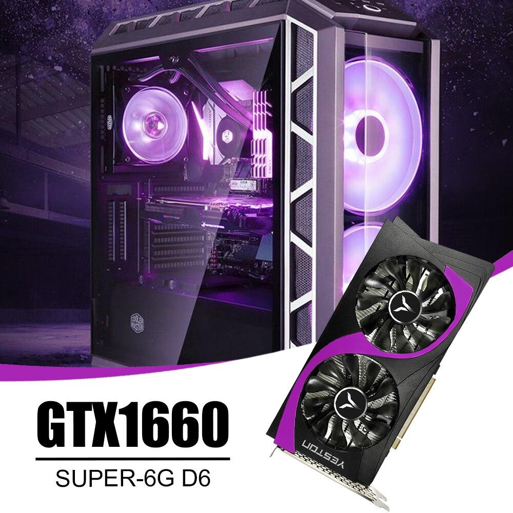 Yeston GTX1660 Super-6G D6 GB Dual Fan Gaming Dispaly Karte 12nm 1785MHz /192bit/GDDR6 PCI-Express 3,0 DVI-D + DP HDMI-Kompatibel