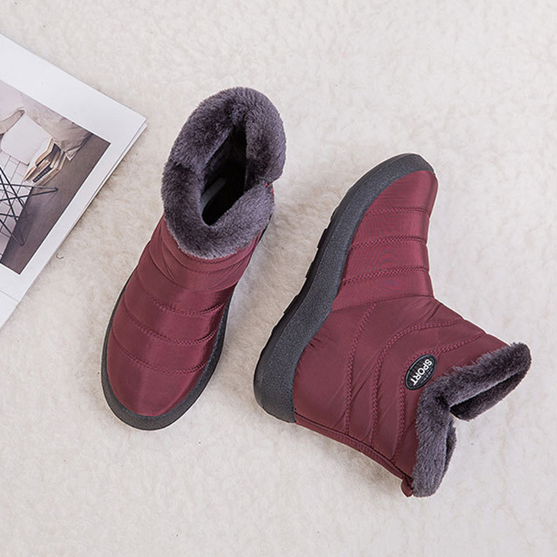 1 Pair Women Ankle Snow Boots Warm Side Zip Waterproof Anti-slip for Winter Outdoor Best Sale-WT image