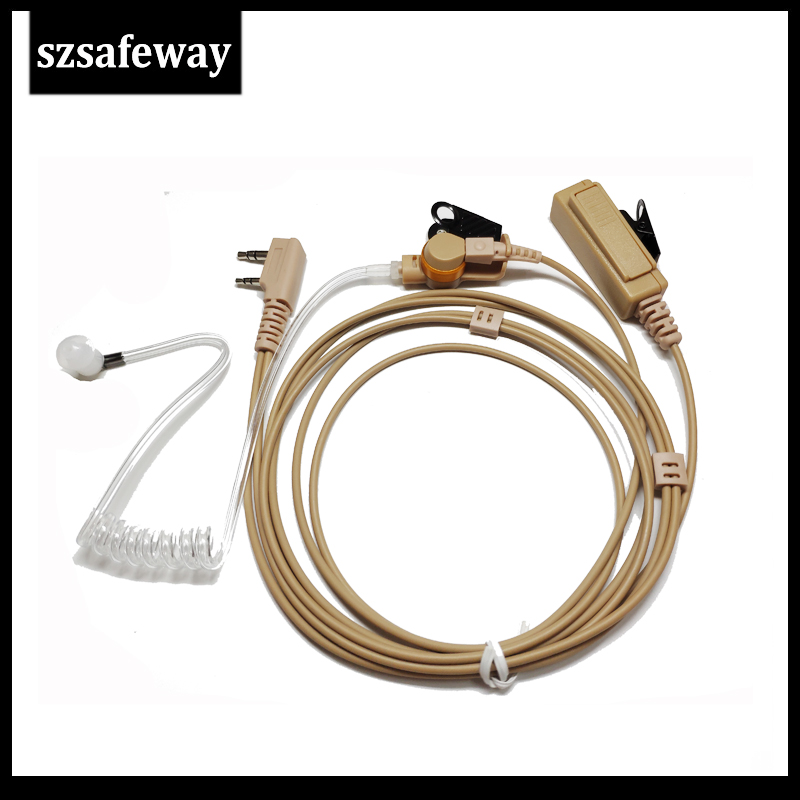 Beige Color 2 Wire Walkie Talkie Earpiece Acoustic Tube Earphone With Push To Talk  For Kenwood TK3107,TK3310 And Baofeng
