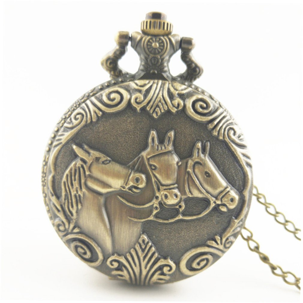Horse Carved Vintage Antique Round Dial Quartz Pocket Watch Necklace Pendant Clock For Mens Womens Best Gifts