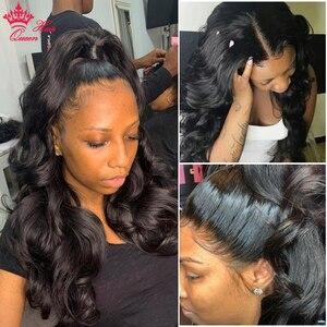 Image 2 - Królowa włosów oficjalny sklep 13x6 HD przejrzyste koronki przodu włosów ludzkich peruk BlackHair ciało fala Glueless Frontal peruka dla kobiet
