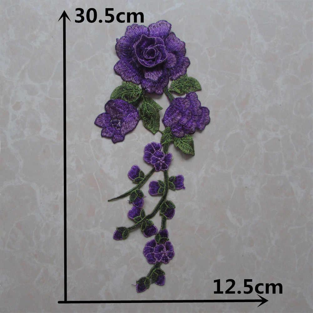 Tela de encaje de alta calidad 3D, flor de Rosa bordada, encajes de costura, collar de poliéster DIY, materiales huecos para manualidades, accesorios para vestido