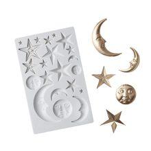 Delidge lua estrelas sol rosto silicone molde fondant molde casa ferramenta fondant sobremesa molde cozinha gadgets ferramentas de decoração do bolo