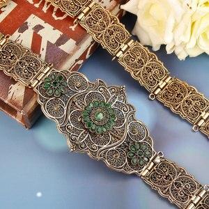Image 2 - Sunspicems velha cor do ouro europeu feminino cinto completo cinza cristal étnico vestido de casamento caftan cintura jóias presente nupcial atacado
