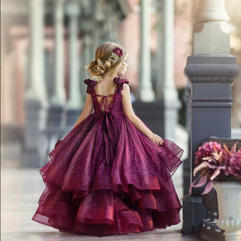 2020 Burgundy Flower Girl Dresses For Wedding Lace Beads 3D Floral Appliqued Little Girls Pageant Dresses Party Gowns Princess