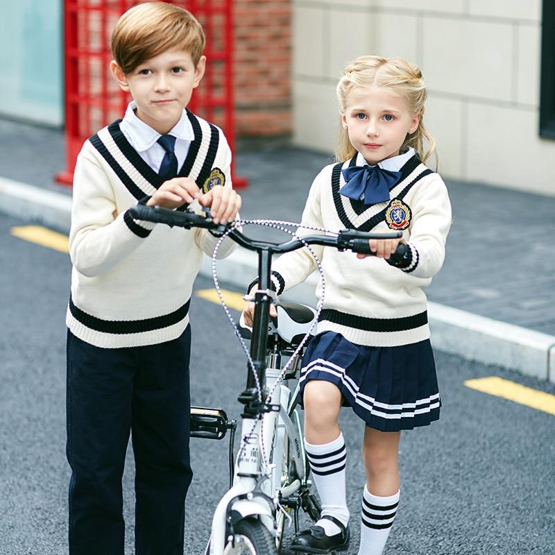 Childrenswear School Uniform 2018 Autumn Young STUDENT'S British Style V-neck Pullover Knitting Shirt Nobility Kindergarten Suit