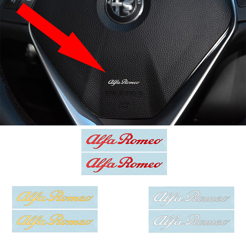 2Pcs Fashion 3D Car Styling Stickers Nickel Metal Badge Car Interior Decals For Alfa Romeo Mito 147 156 159 166 Giulietta Spider