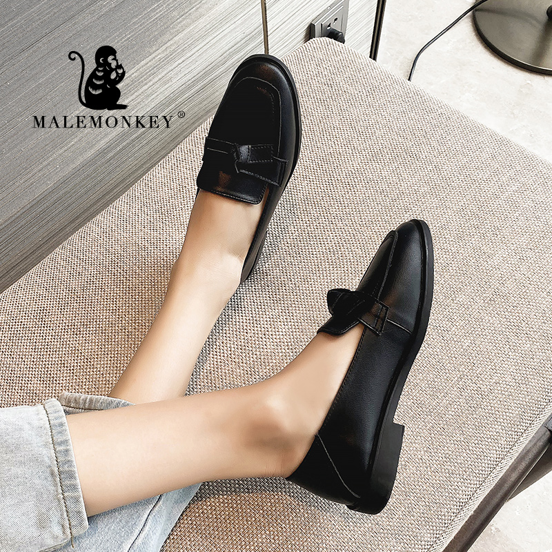 MALEMONKEY 033172 Brand Spring Flats Women Shoes Bowtie Loafers 2020 Spring Autumn Ladies Fashion Loafers Female Women Shoes New