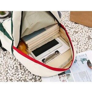 Image 5 - FUNMARDI 4 יח\סט Panelled נשים תרמיל בד חתול דפוס תיק בית ספר ילדה טלאי תרמיל נשי כתף תיק WLHB2065