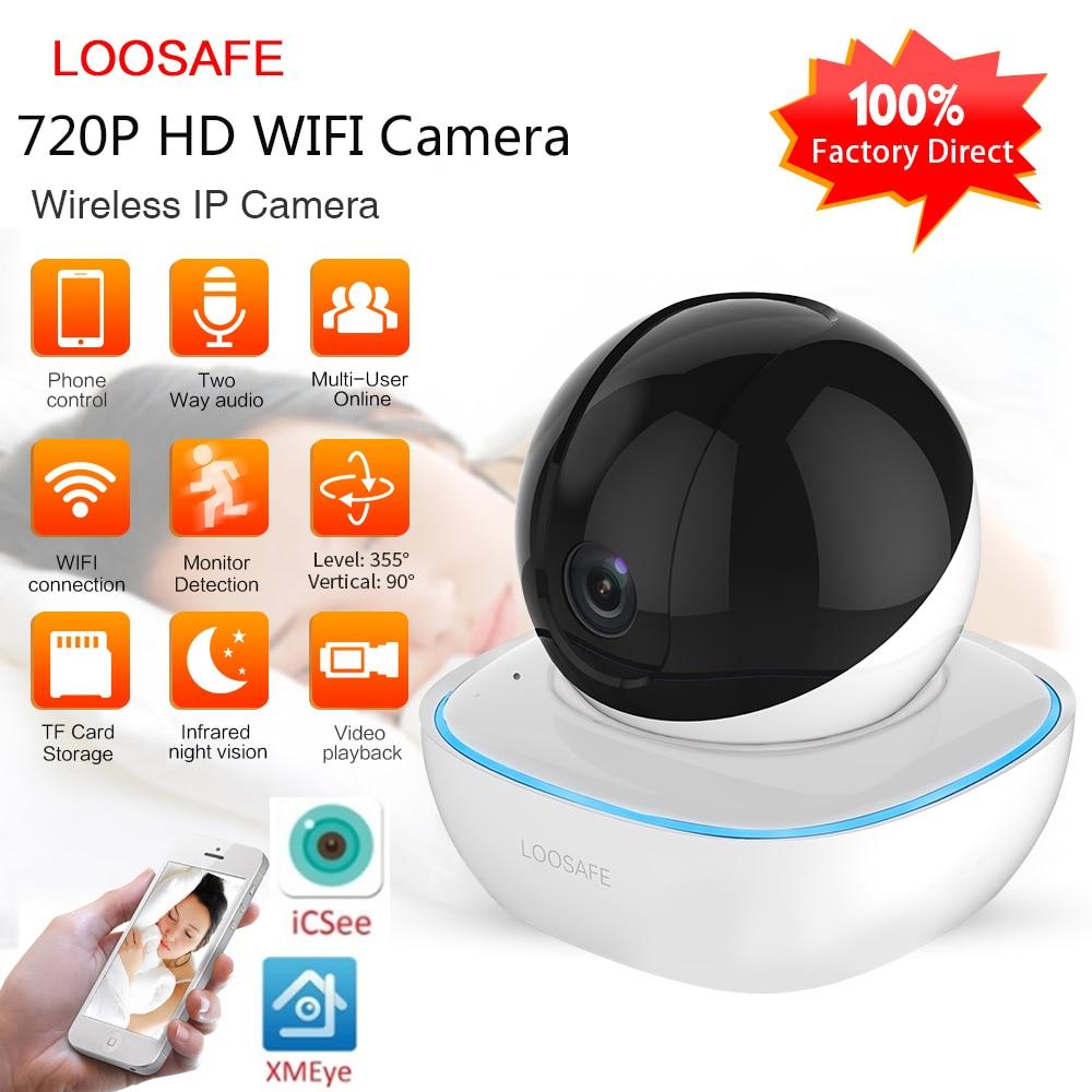 LOOSAFE Wifi Security Wireless IP Camera 720P Home Security 2 Way Audio Alarm IR Night Vision P2P Surveillance CCTV Wifi Camera