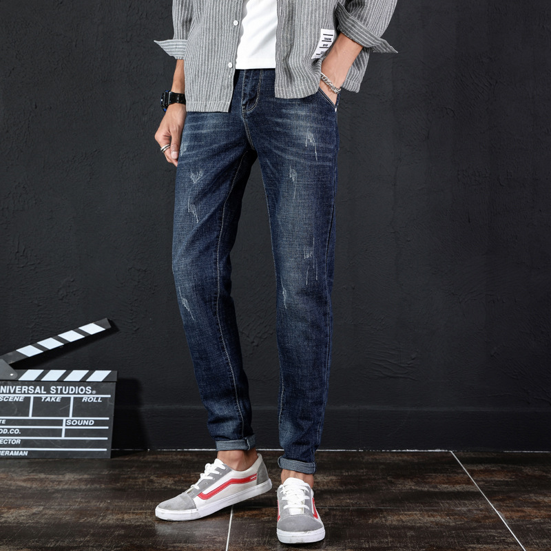 Autumn New Style MEN'S Jeans Korean-style Trend Slim Fit Men's Trousers Youth Fashion Casual Elasticity Skinny Pants