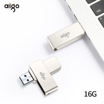 Aigo 360° rotatable usb flash drive metal pen drive high speed pendrive 3.0 memoria usb cle usb 3.0 16GB keyring memoria usb