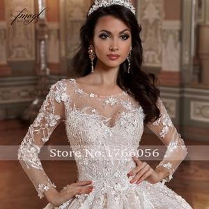 Image 3 - Fmogl Luxus Langarm Blumen Spitze Ballkleid Hochzeit Kleider 2020 Elegante Appliques Perlen Kapelle Zug Vintage Brautkleider
