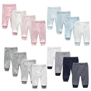 Image 1 - 3/4PCS/LOT  Newborn Pants Cartoon four seasons Baby 100%Cotton Soft Girl Pants Baby Boy trousers Pants 0 24M