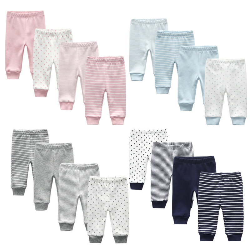 3/4PCS/LOT Newborn Pants Cartoon four seasons Baby 100%Cotton Soft Girl Pants Baby Boy trousers Pants 0-24M title=