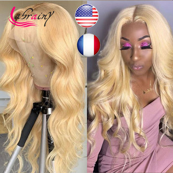 13x6 HD 613 Blonde Lace Frontal Wigs Glueless Body Wave Pre Plucked Baby Hair Lace Front Human Hair Wigs Natural Hairline image