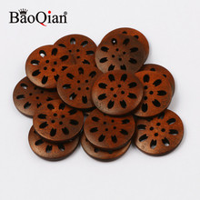 20pcs 25mm Round Hollow 4-Hole Natural Wooden Buttons For Clothing Decoration Crafts Diy Home Sewing Clipping Accessories