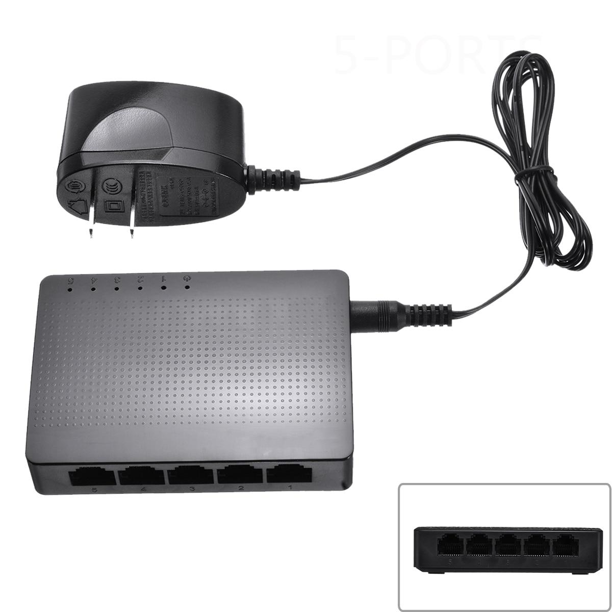 1PC Ten-da SG105 5-port 1000M Desktop Gigabit Ethernet Network Switch LAN Hub With US Power Adapter USB Powered
