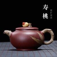 Geld tao feng Tee Topf Großhandel Yixing Ton Teekanne Raw Erz Lila Ton shou tao hu Blume Fracht Feine Kunst sowie Tee Topf eine G|Teebretter|Heim und Garten -
