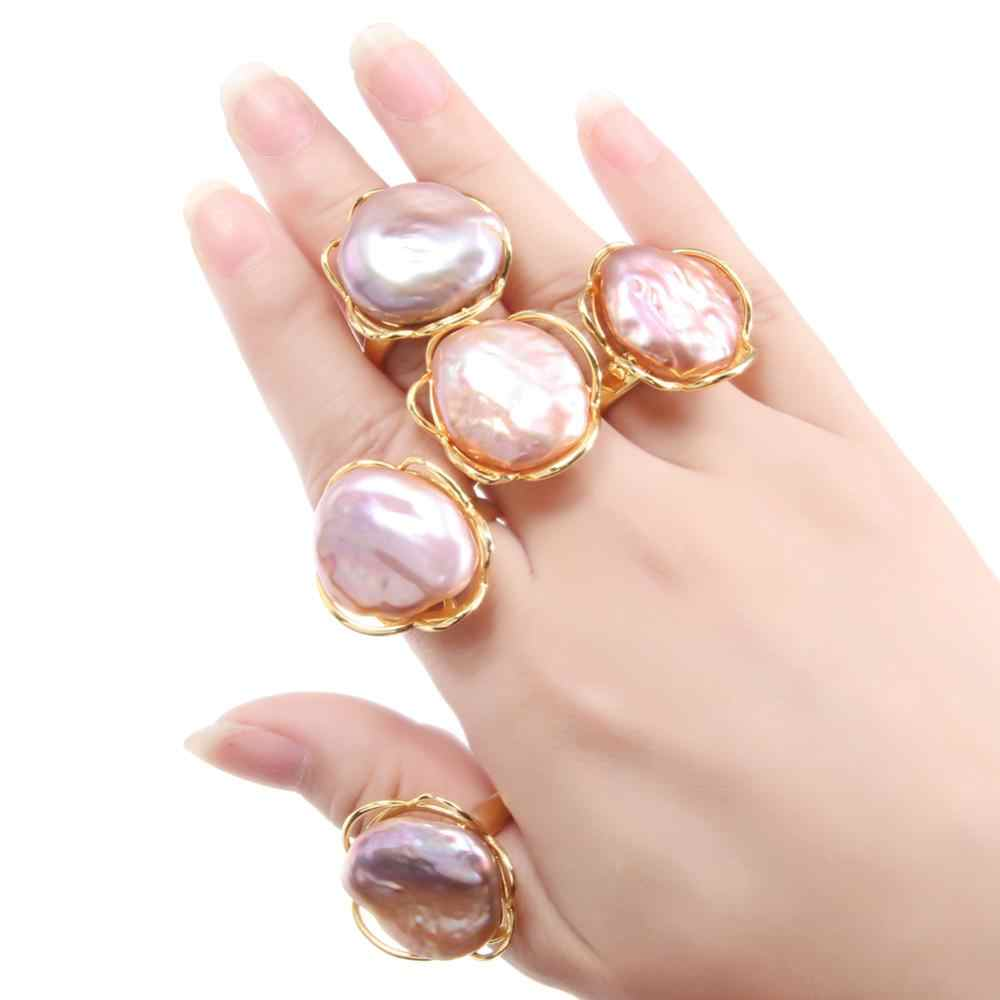 Natural Freshwater Pearl Ring Baroque Pearl Gold Color Rings for Women Gift Party Pearl Ring Adjustable Jewelry