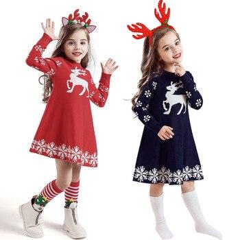 Ropa de Navidad para niños, invierno, bebés, niñas, ganchillo, Navidad, ciervo, Vestido de punto + trajes con diadema, vestido de fiesta, Ropa Navidad