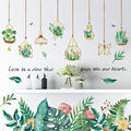 [Shijuekongjian] зеленые наклейки на стену в горшке «сделай сам», наклейки на стену с тропическими листьями для гостиной, спальни, кухни, украшение ...