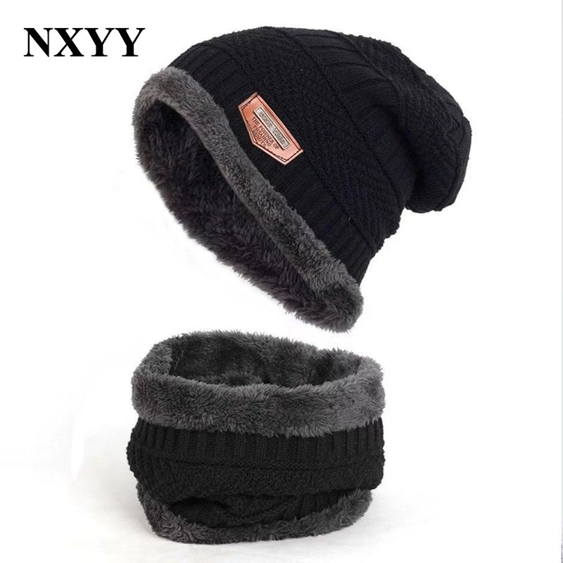 NXYY 2pc Knitted Hat Scarf Sets Men's Autumn Winter Wool Caps Men Winter Beanie  Two-piece Fleece Perfect Gift For Men Casquette