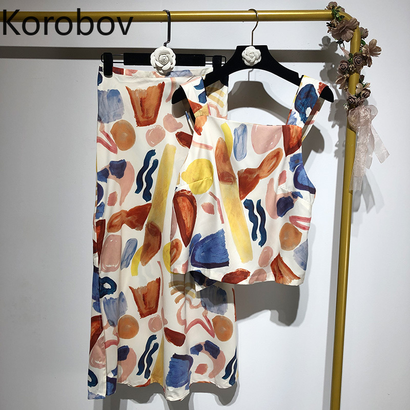Korobov Summer New Sleeveless Tank Top And A Line Print Skirt 2 Piece Sets Bohemian Beach Style Women Suits Outfits 78809