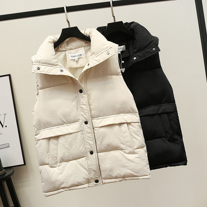 Women's Korean Style Solid Sleeveless Winter Keep Warm Winter Vest Coat Single Women Breasted Loose Thick Fashion Vest