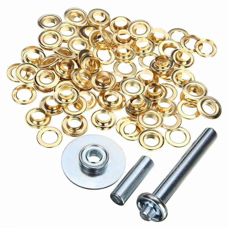 100pcs/set Durable Tarpaulin Tent Awning Groundsheet Eyelet DIY 1/2'' Tarp Inner Dia 12mm Brass Coated Eyelet Grommets Repair Ki