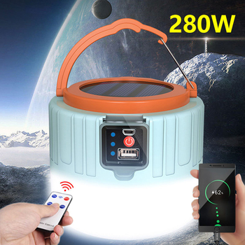 LED Solar Camping Light Spotlight Portable Solar Emergency Led Tent Lamp Remote Control Phone Charge Outdoor For Hiking Fishing