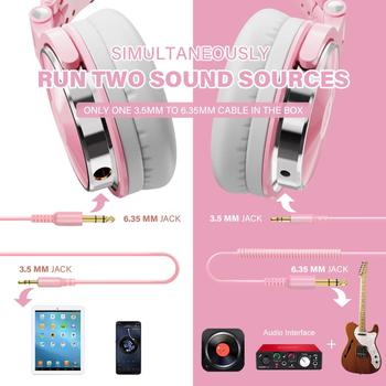 Oneodio Pink Headphones Gaming Headset With Microphone Wired Professional DJ Studio Stereo Headphone For PC Computer Women Girls 2