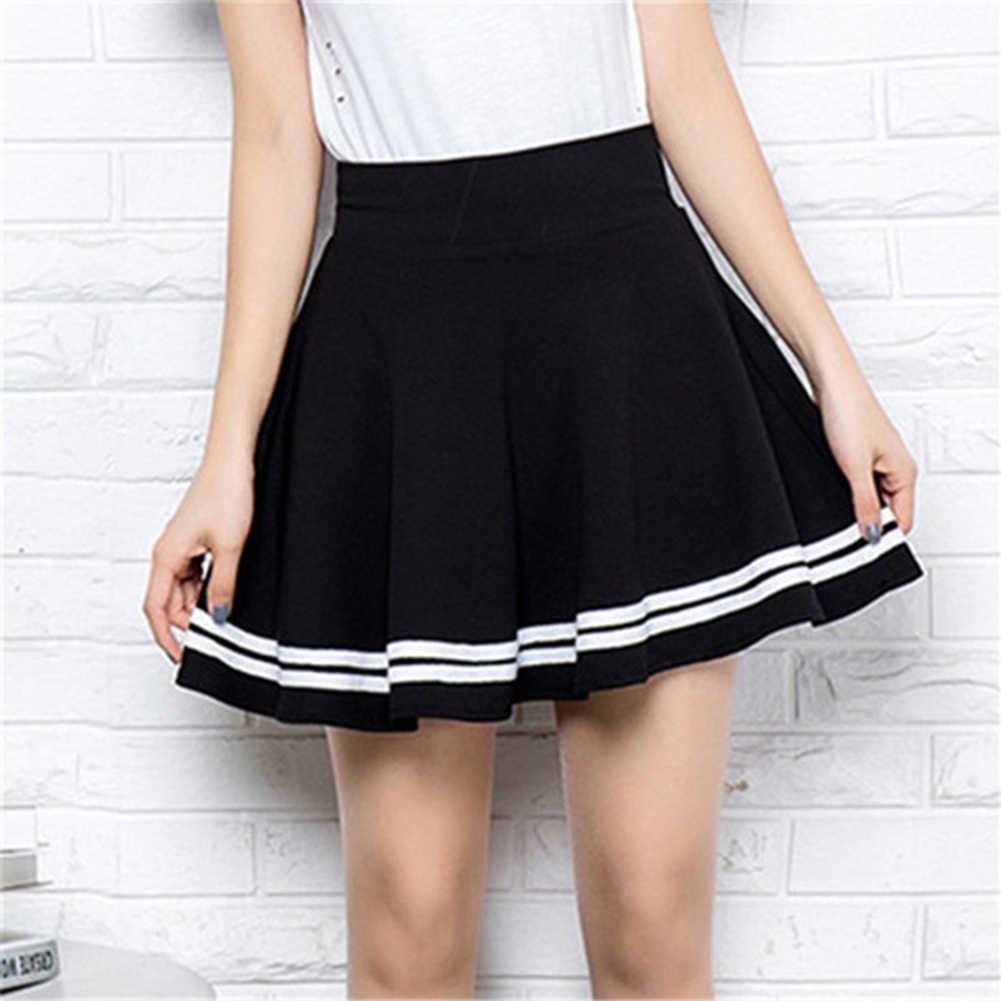 日本スタイル夏のスカートの女性ガールズファッションソリッドカラーハイウエストストライププリーツスカートミニスカート学校