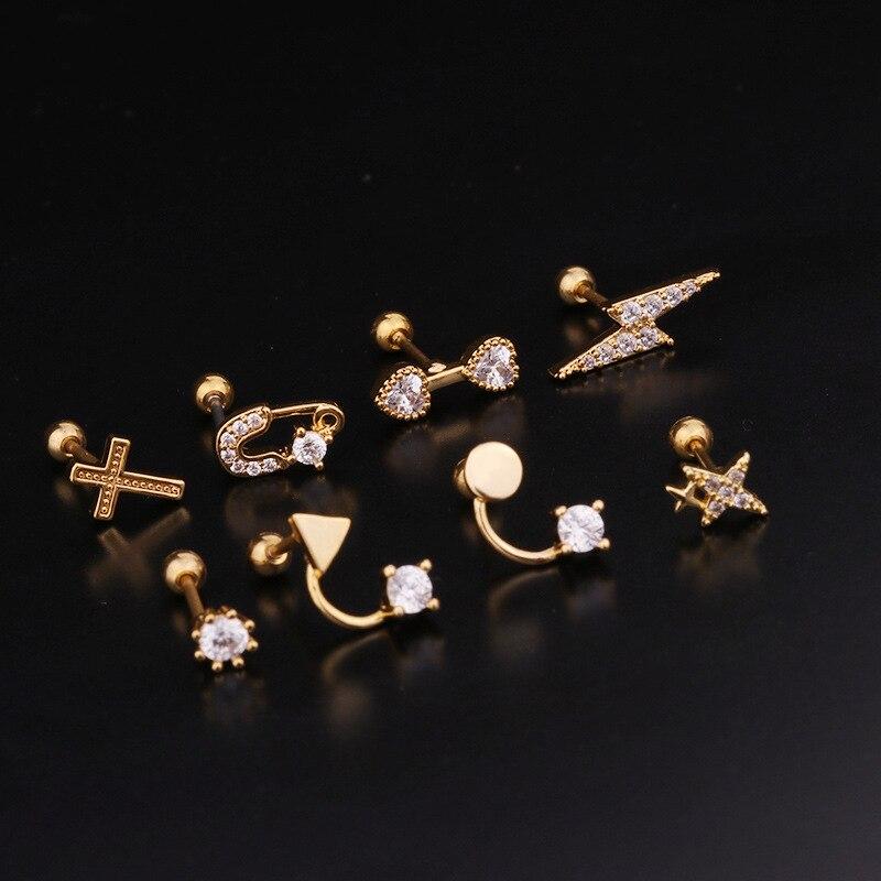 1Piece Piercing Star Earings for Women 2020 Fashion Jewelry Stainless Steel Cross Ear Cuff Unusual Women Stud Earrings Ring
